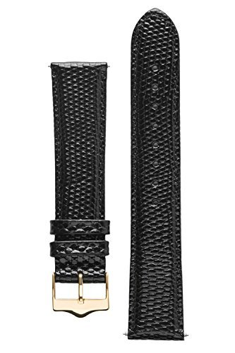 - Signature Dragon watch band. Replacement watch strap. Genuine leather. Steel and Gold Buckle (16 mm - short, Black - Gold Buckle)
