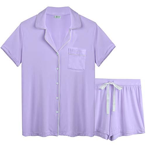 Modal Jersey Short - Joyaria Womens Comfy Pj Sets Button UP Jersey Knit Pajama Shorts Set Summer Loungewear (Light Purple, Medium)