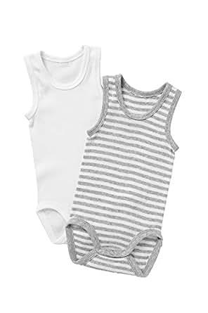 Bonds Unisex-Baby Singletsuit, New Grey Marle Stripe & White, 0 (6-12 Months), Pack of 2