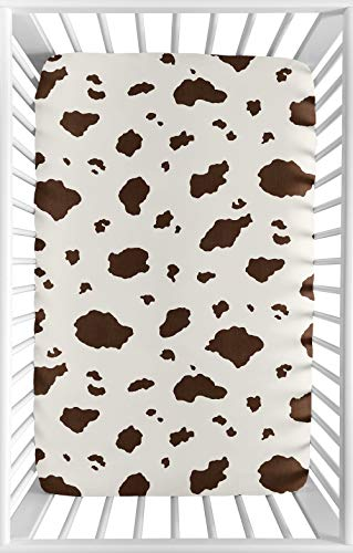 Sweet JoJo Designs Brown Cow Print Baby Boy Fitted Mini Portable Crib Sheet for Western Wild West Collection - for Mini Crib or Pack and Play - Collection Crib West Bedding