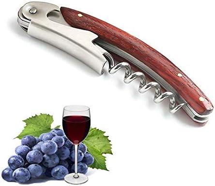 Sacacorchos profesional, herramienta fiable de acero inoxidable y madera de pera roja, abridor de vino para sommeliers, camareros y barman