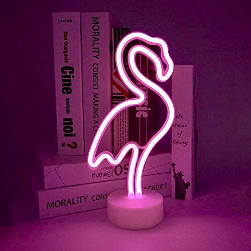 ENUOLI LED Flamingo Neon Light Signs Neon Signs Lamps Flamingo Neon Lights Room Decor Battery /& USB Operation Night Lights with Pedestal Pink Neon Signs Light up Bar Bedroom Party Christmas