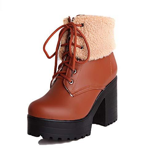 AalarDom Women's Assorted Color High-Heels Round-Toe Pu Lace-Up Boots, TSDXH115244 Brown