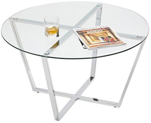 Mango Steam Metro Glass Coffee Table - Clear Glass/Chrome Base (Coffee Chrome Table)
