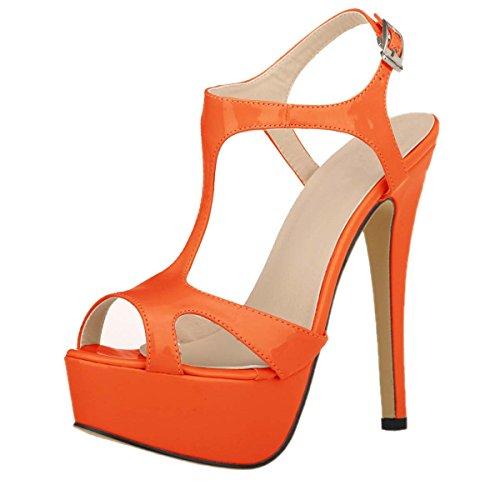 las plataforma vestir Toe hacia HooH de Peep ahueca naranja fuera sandalias wfgEqYE