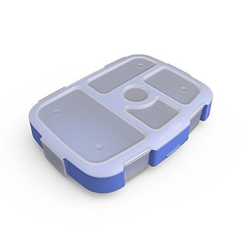 Bentgo Kids Brights Tray (Violet) with Transparent Cover - Reusable, BPA-Free, 5-Compartment Meal Prep Container with Built-In Portion Control for Healthy At-Home Meals and On-the-Go Lunches