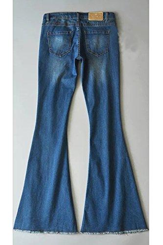 Pantalon Femmes Les Pleine Jean En Trompette Extensible Denim Longueur Darkblue Occasionnels SFOgwFx