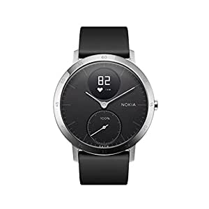 Nokia Steel HR Hybrid Smartwatch – Heart Rate & Activity Tracking Watch, Black, 36mm, up to 25 Days long-lasting Battery Life, Swim Proof with Soft Silicone Interchangeable Wristbands