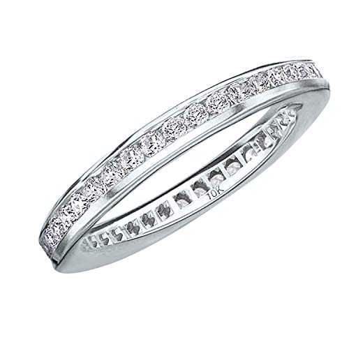 .50CT Classic Channel Set Diamond Eternity Ring in 10K White Gold - Finger Size 7 ()