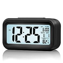 ZHPUAT Morning Clock,Low Light Sensor Technology,Light On Backlight When Detect Low Light,Soft Light That Won't Disturb The Sleep,Progressively Louder Wakey Alarm Wake You Up Softly.Color Black