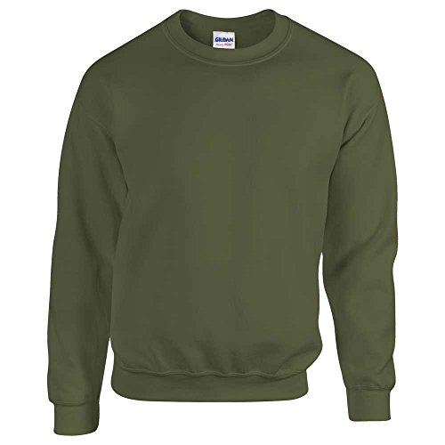 Sweatshirt Plain 50 Green Military Neck Crew Adult Gildan Super 50 Soft g8dwFvq0P