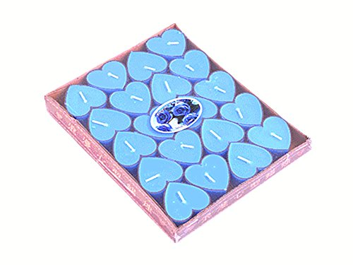 (ALIMITOPIA 20pcs Heart-Shaped Candle,Romantic Love Smokeless Sweet Scented Candle(Blue))