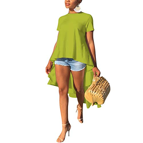Womens Casual Solid Ruffle High Low Asymmetrical Short Sleeve Blouse Tops Shirt Dress Green M