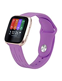 Yisdo Fitbit Versa Bands for Women Men Small Large Adjustable Silicone Sport Strap Breathable Soft Replacement Fitness Wristbands for Fitbit Versa Smart Watch