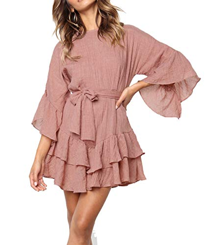 PRETTYGARDEN Women's Casual Solid Color O-Neck 3/4 Bell Sleeve Ruffle Swing A Line Mini Dress Sundress with Belt (Pink, X-Large)