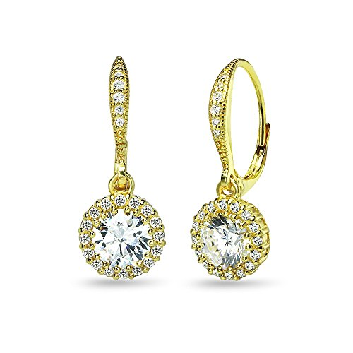 Yellow Gold Flashed Sterling Silver Round Halo Dangle Leverback Earrings Made with Swarovski Zirconia ()