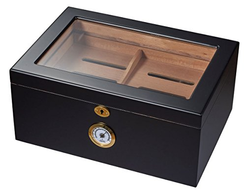 - Visol Rainier Glass Top with Matte Finish Cigar Humidor which Holds 100 Cigars, Black