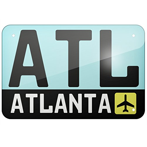 "Metal Sign Airport code ATL / Atlanta country: United States, Large 12x18"" - Neonblond"