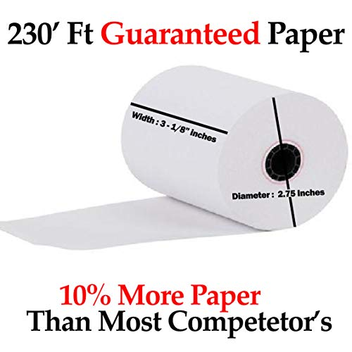 "3-1/8"" x 230' (50 Rolls) Thermal Paper 2.75"" diameter Cash Register Rolls BPA Free Made in USA From BuyRegisterRolls 318230."