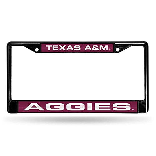 Texas A&M Aggies Laser Black License Plate Frame College License Plate Frames