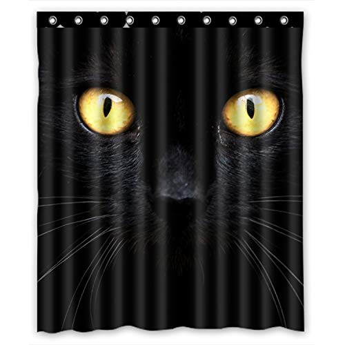 (KXMDXA Black Cat in the Dark Waterproof Polyester Bath Shower Curtain Size 60x72 Inch)
