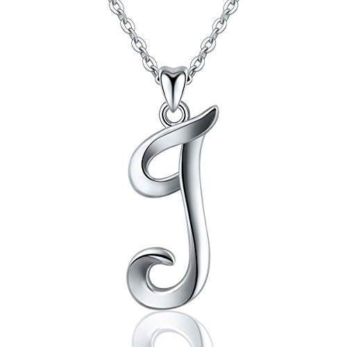 (EUDORA Sterling Silver Necklace 26 Letters Alphabet Personalized Charm Pendant with 18inch O-Ring)