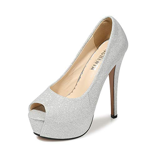 Women's Peep Toe Platform High Heel Dress Pumps Glitter Silver Tag 42 - US B(M) 9.5 (Silver Platform High Heel)