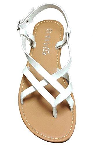 Elegant Women's Criss Cross Strappy White Color Gladiator Flat Sandals White 8, M (Elegant Strappy Sandal)
