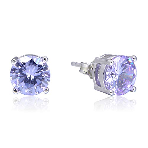 Sterling Silver June Birthstone Earrings | 8mm Alexandrite Earring Stud Ear Studs Anniversary Birthday Mother's Gift SSE65 ()