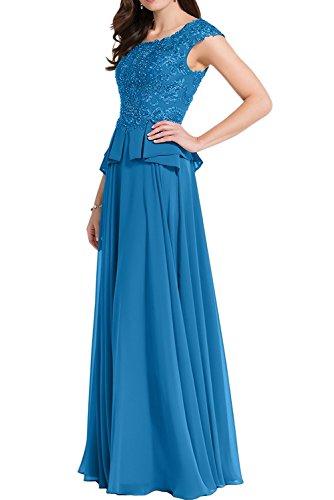 Rock Blau Brautmutterkleider Braut Linie Lang Marie Kurzarm Chiffon Abendkleider A Ballkleider La Blau Spitze mit 6O0wSqf