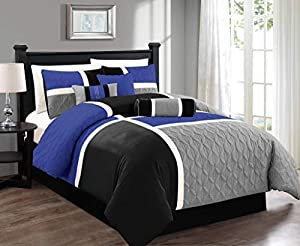 Chezmoi Collection 7-Piece Quilted Patchwork Comforter Set, Gray/Blue/Black, Queen