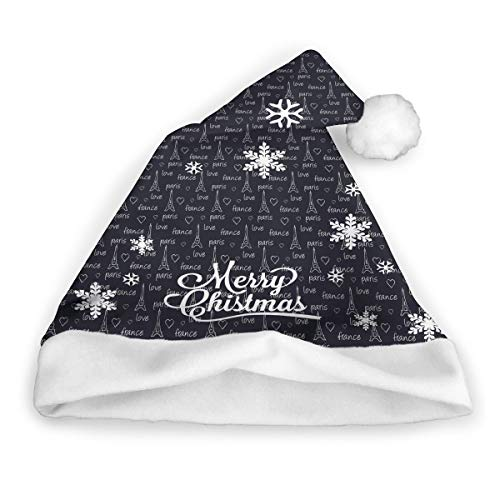 XPEACHParis Eiffel Tower Novelties Holiday Christmas Plaid Santa Hat for Adults and Kids
