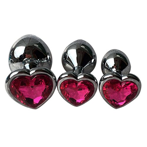 Makalon Crystal Silver Colour Metal Backyard Stainless Steel Plug Anal Hitch (L, Hot Pink)