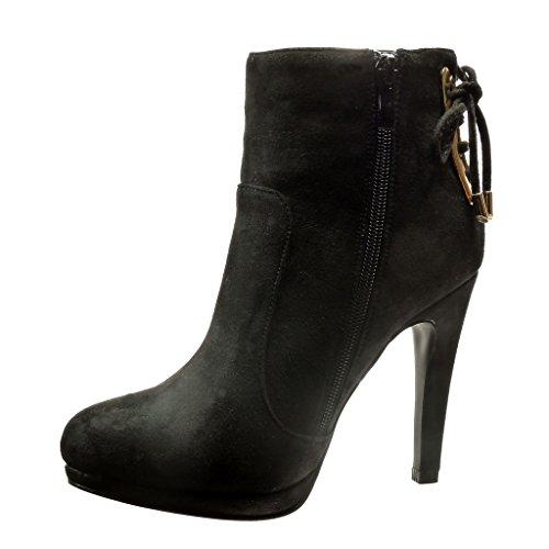 Boots Sexy Angkorly Aguja Negro Metálico Nodo Zapatillas Talón Tacón Alto Moda De Cm Mujer 11 Botines Low f1H4FHIq