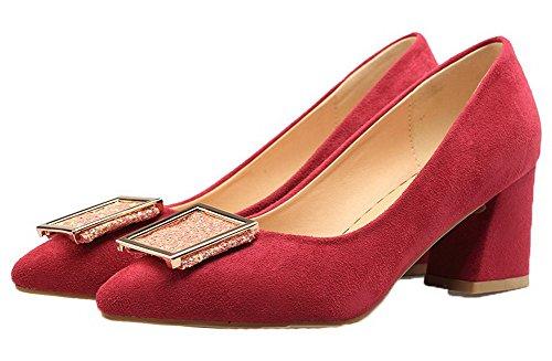 b0d2a618284f1c ... AgooLar Damen Nubukleder Ziehen auf Schließen Zehe Mittler Absatz Pumps  Schuhe Rot ...