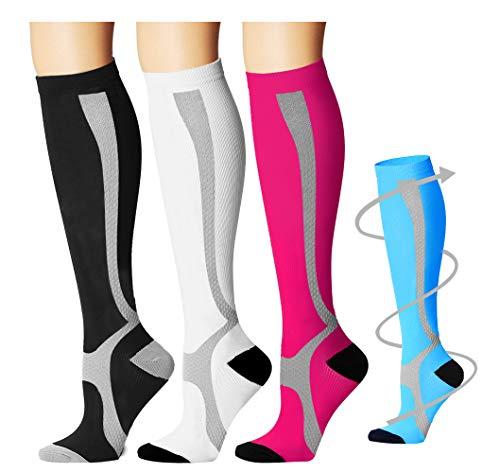 Bluemaple Compression Socks for Women & Men - Best for Running, Athletic Sports, Crossfit, Flight Travel -Maternity Pregnancy, Shin Splints - Below Knee High
