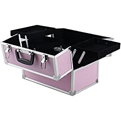 "14""x9""x10""Aluminum Makeup Train Case Jewelry Box Cosmetic Organizer Pink"