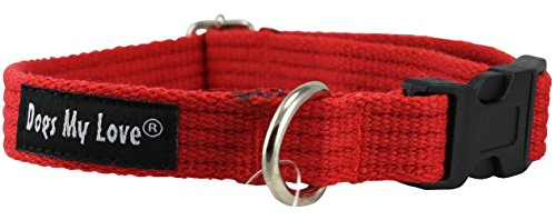 Organic Cotton Web Adjustable Dog Collar 4 Sizes Red (Small: Neck 11.5