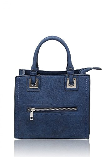 LeahWard? Small Tote Bags For Women Designer Faux Leather Shoulder Handbags Key Card Phone Photo Coin Holder 160663 Oxford Blue Tote Bag