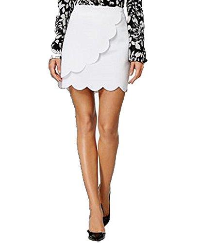 ccb67f2707 Olivia & Grace Scalloped Faux-Wrap Mini Skirt (Bright White, ...