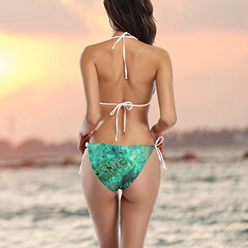pezzi bagno imbottito laccetti Due da Multicolore fianchi del pavone Swimsuit COOSUN XS sui blu bikini Bikini costume astratta Onda Swimwear fwxP6qAT