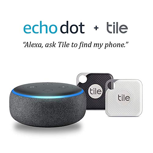 Echo Dot (3rd Gen) - Charcoal with Tile Pro 2 pack (1 x Black, 1 x White)