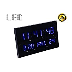 Slim & Large Metal & Glass Digital Clock Jumbo Display with Blue LED Light, Wall Clock 24 Hours Format Display with Calendar & Thermometer