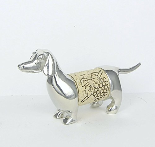 Wine Cork Dachshund Sculpture - Changeable Wine Cork Display - Gift Boxed with story card -Handcrafted Pewter Made in USA