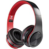 Bluetooth Headphones Over Ear, Hi-Fi Stereo Wireless Headset, Foldable, Soft Memory-Protein Earmuffs, w/Built-in Mic and Wired Mode for PC/Cell Phones/TV (Red)