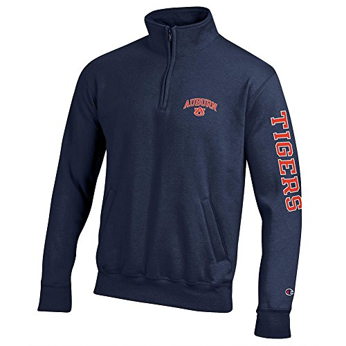 Elite Fan Shop Auburn Tigers Quarter Zip Sweatshirt Letterman Navy - ()