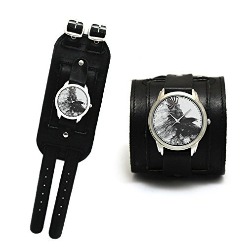 Dark Raven cuff quartz watches with double buckles cuff made of genuine leather