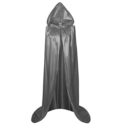 Makroyl Adult Full Length Hooded Cape Christmas Costume Cloak Halloween Party Cape (XL, Grey) -