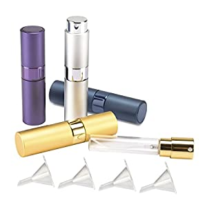 Madholly 4 Pieces 8ml Twist-Up Perfume Spray Bottles, Portable Refillable Perfume Sprayer Atomizer with 4 Funnel Fillers (style 2)