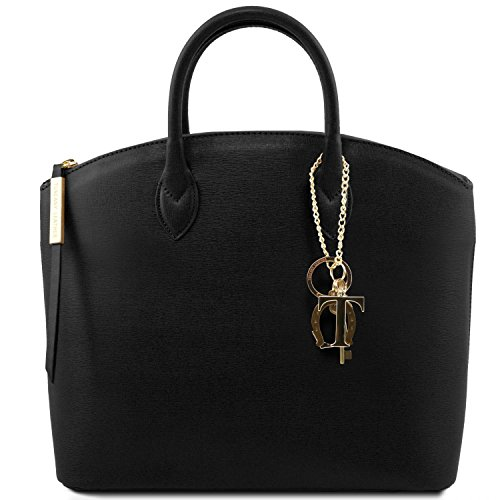 Saffiano Nero Borsa TL Leather KeyLuck in shopper Tuscany pelle WA0wc7wp